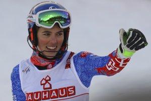 Petra Vlhová sa raduje zo zisku bronzu v slalome na MS v alpskom lyžovaní 2019.