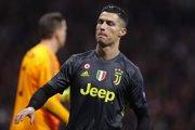 Cristiano Ronaldo v zápase proti Atléticu Madrid.