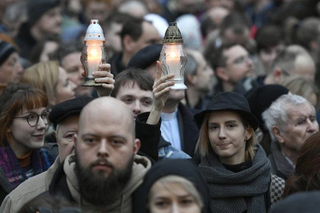 Zhromaždenie Za slušné Slovensko v Bratislave.