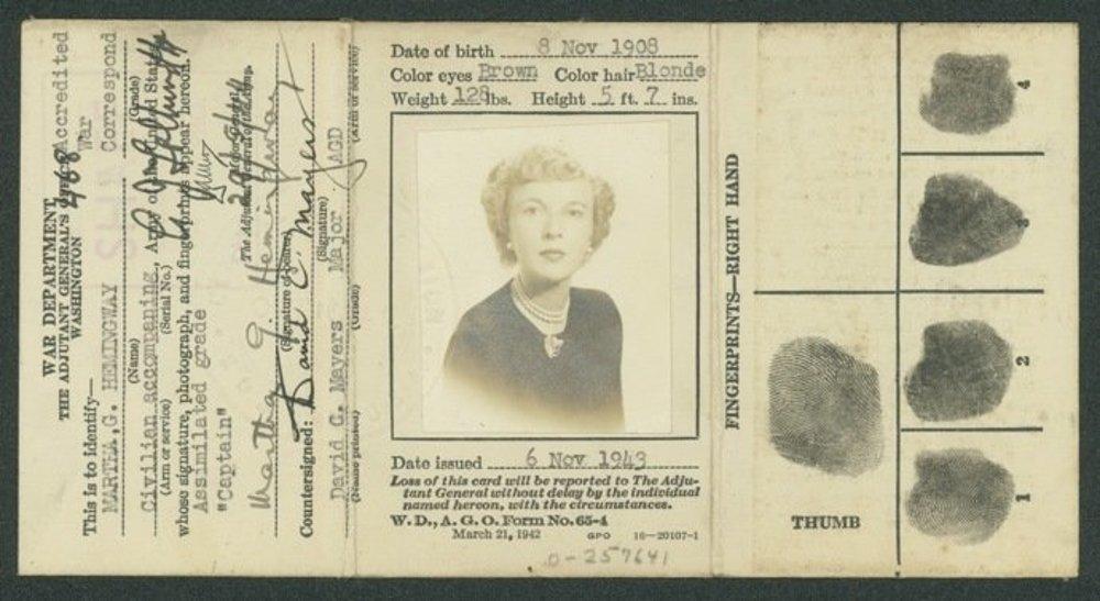 Novinársky preukaz Marthy Gellhornovej, vystavený v roku 1943.