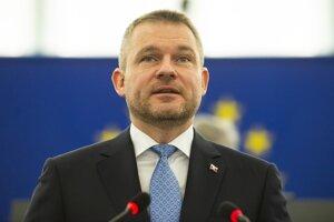Peter Pellegrini počas príhovoru na rokovaní Európskeho parlamentu.