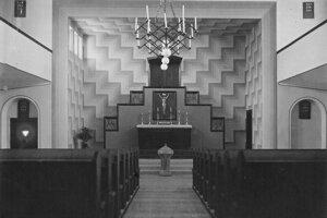 Pôvodné sanktuárium podľa návrhu architektov kostola.