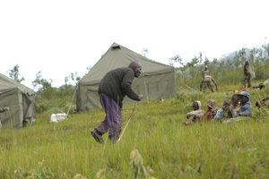Stanový tábor v oblasti Chimanimani v Zimbabwe.