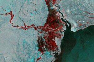 Satelitný záber na zaplavenú oblasť.