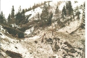 Takto vyzerala dolina tesne po lavíne.