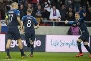 Momentka zo zápasu Slovensko - Maďarsko v kvalifikácii o postup na ME vo futbale 2020.