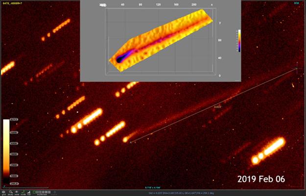 Gault pozorovaný na Skalnatom plese 6. februára 2019 pomocou 1,3-metrového ďalekohľadu. Teleso je vyznačené dlhou šípkou. Tesne za ním vidno aj kratší chvost.