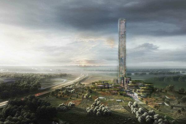 Budúci mrakodrap v strede polí.