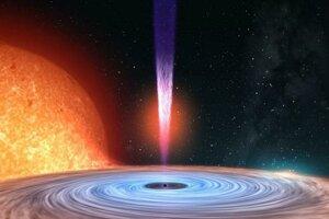 Umelecká predstava o sústave V404 Cygni, v ktorej hviezda obiehajúca čiernu dieru stráca materiál.