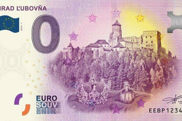 Eurobankovka s nulovou nominálnou hodnotou s vyobrazením Ľubovnianskeho hradu.