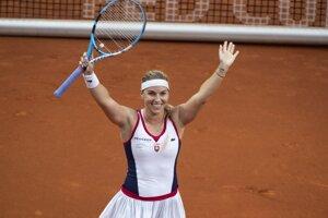 Dominika Cibulková sa teší z víťazstva.
