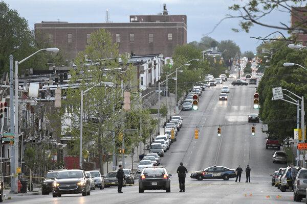 Polícia v blízkosti streľby v Baltimore.