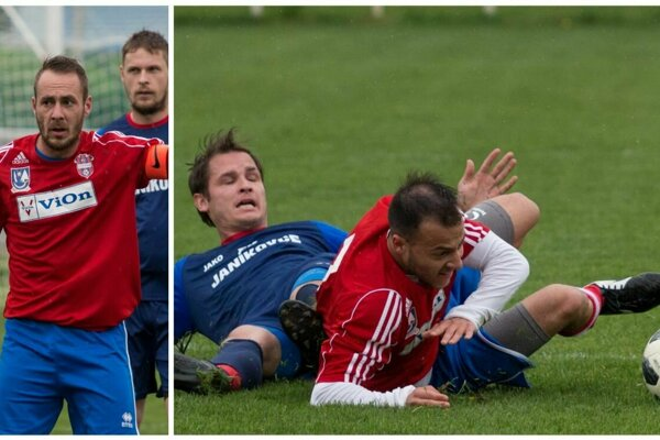Volkovský kapitán Jozef Chovanec (vľavo, za ním Michal Gúcky) trafil dva góly. Vpravo jeho kolega z ofenzívy Dominik Roman v súboji s Martinom Dedičom z Janíkoviec.