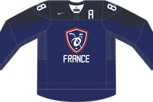 Dres Francúzska určený pre zápasy, v ktorých je napísané ako hosťujúci tím.