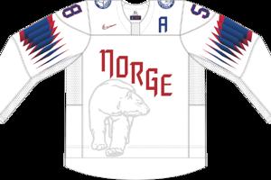 Dres Nórska určený pre zápasy, v ktorých je napísané ako domáci tím.