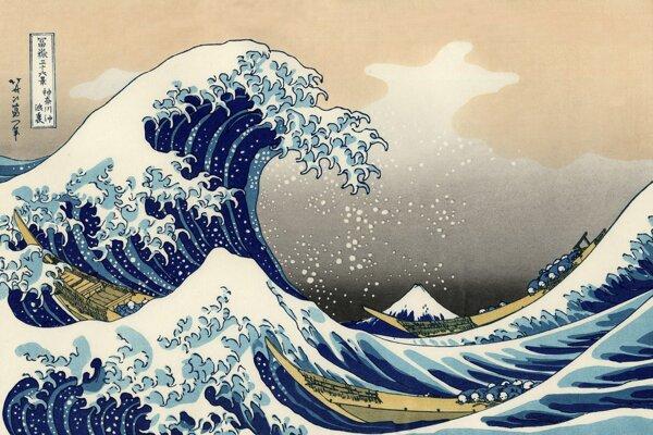 Maľbu Veľká vlna pri Kanagawe japonského umelca Kacušiku Hokusaiho vložili do bielkovinových molekúl.