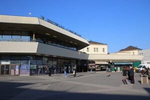 Budova Hlavnej železničnej stanice v Bratislave.