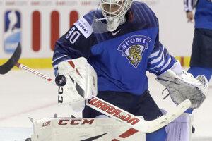 Fínsky brankár Kevin Lankinen v zápase Fínska proti Kanade na MS v hokeji 2019.