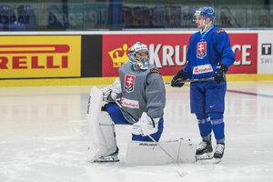 Libor Huhdáček (vpravo) a Marek Čiliak na tréningu slovenskej reprezentácie.