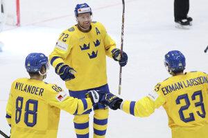 Švédski hokejisti v zápase Nórsko - Švédsko na MS v hokeji 2019.