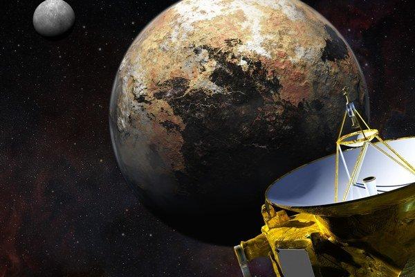 New Horizons, Pluto a jeho mesiac Cháron v pozadí.