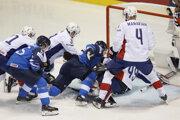 Momentka zo zápasu Francúzsko - Fínsko na MS v hokeji 2019.