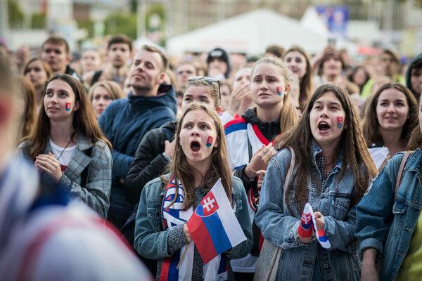 Fanúšikovia počas zápasu Slovensko - Dánsko na MS v hokeji 2019.