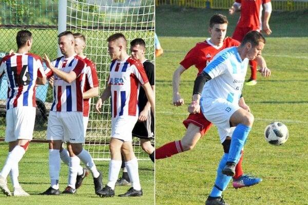 Futbalisti Paty nezaváhali v Nevidzanoch, dva góly strelil Róbert Valenta. Vpravo je archívna snímka zo zápasu Zbehy - Čeľadice: v červenom Erik Kinče, vpredu Dominik Kolník.