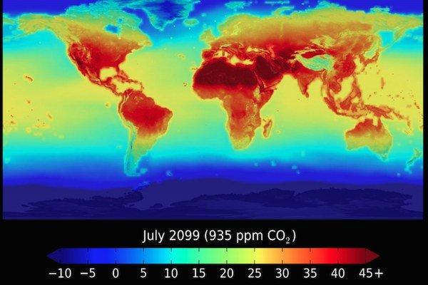 Priemerné júlové teploty v roku 2099 v prípade, ak ľudstvo nezastaví súčasný trend globálneho otepľovania.