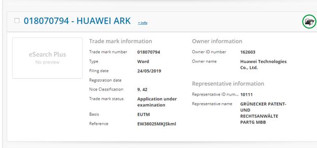 Záber patentu pre Huawei Ark na stránkach Úradu Európskej únie pre duševné vlastníctvo.
