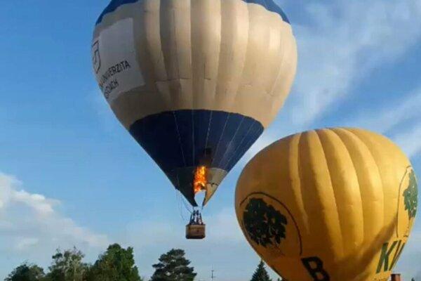 Požiar balóna krátko po vzlete.