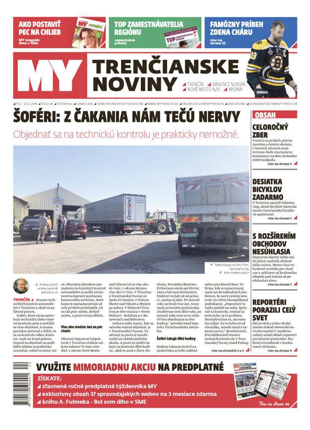 Titulka MY Trenčianskych novín, 17. júna 2019.