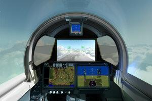 Vizualizácia kokpitu X-59. Nebude mať bežné čelné sklo, ale displej, ktorý bude zobrazovať zábery z predných kamier.