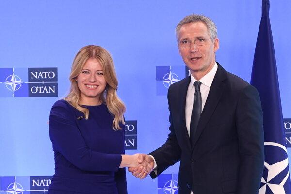 Prezidentka SR Zuzana Čaputová a generálny tajomník NATO Jens Stoltenberg v Bruseli 25. júna 2019.