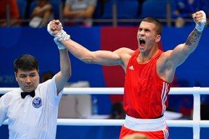 Andrej Csemez sa raduje po výhre nad Miguelom Cuadradom Entrenom vo štvrťfinále hmotnostnej kategórie do 75 kilogramov na II. Európskych hrách v Minsku.