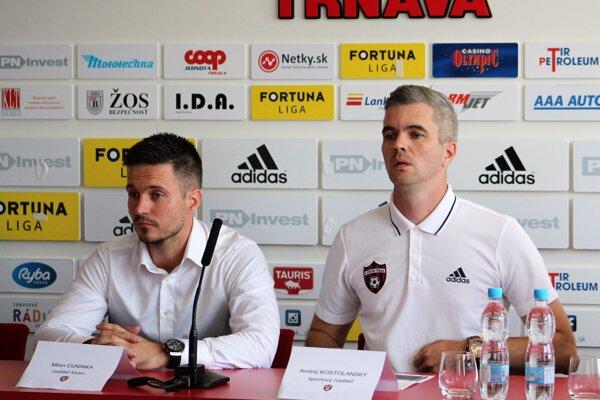 Riaditeľ klubu FC Spartak Trnava Milan Cuninka so športovým riaditeľom Andrejom Kostolanským