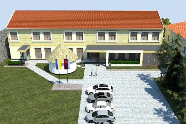 Vizualizácia domova pre seniorov v prístavbe kaštieľa.