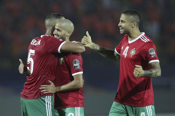 Radosť hráčov Maroka po zápase Maroko - Pobrežie Slonoviny na Africkom pohári národov 2019.