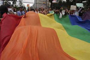 Záber z ekvádorského pride pochodu.