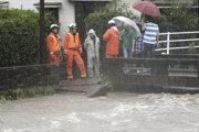 Evakuácia v meste Kagošima.