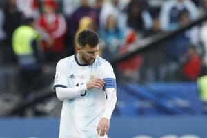 Lionel Messi v zápase proti Čile na Copa America 2019.