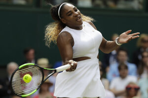 Serena Williamsová počas finále Wimbledonu 2019.