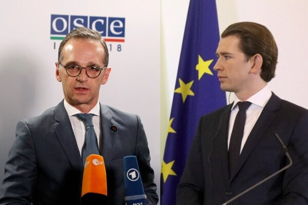 Nemecký minister zahraničných vecí Heiko Maas a predseda ÖVP Sebastian Kurz.