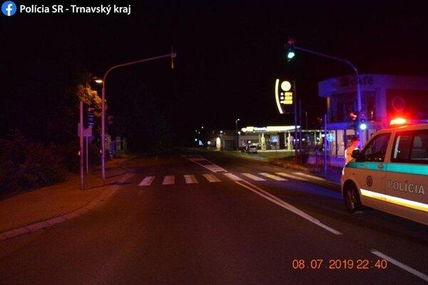 Miesto nehody na Bratislavskej ulici v Piešťanoch.