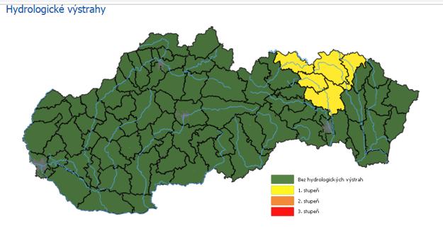 Hydrologické výstrahy vyhlásili pre viaceré okresy (18.30 hod)