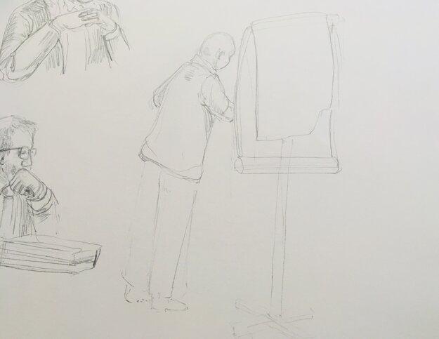 Kresba Pavla Ruska počas jeho výpovede na súde.