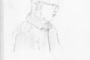 Ako vznikali kresby. Redaktor denníka SME Adam Valček, ktorý proces s Kočnerom a Ruskom sleduje.