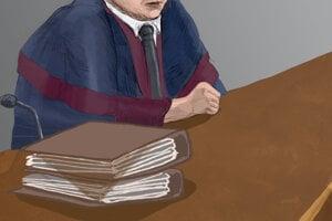 Dokončená kresba. Prokurátor Ján Šanta.