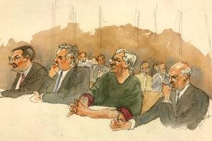 Skica zo súdu s Jeffreym Epsteinom.