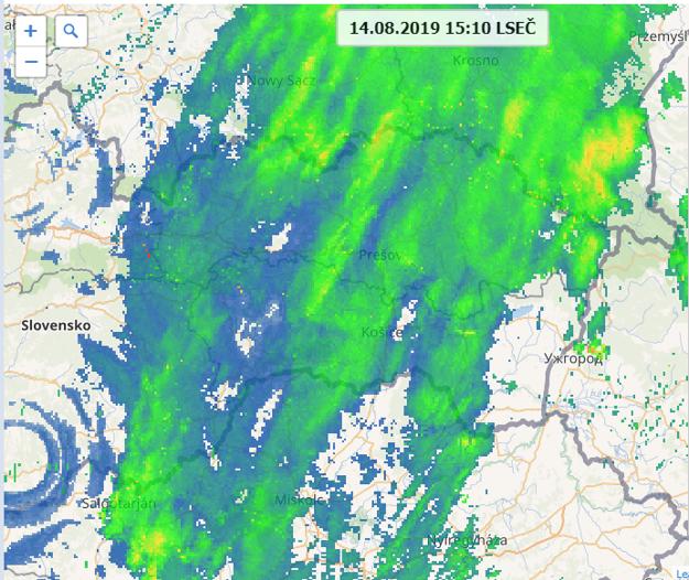 Situácia na východnom Slovensku na radare po 15. hodine, zvyšky zrážok sa presúvajú smerom do Poľska.